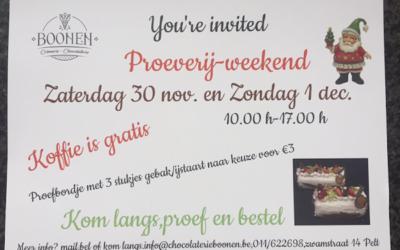 Proeverij weekend: 30/11 – 01/12